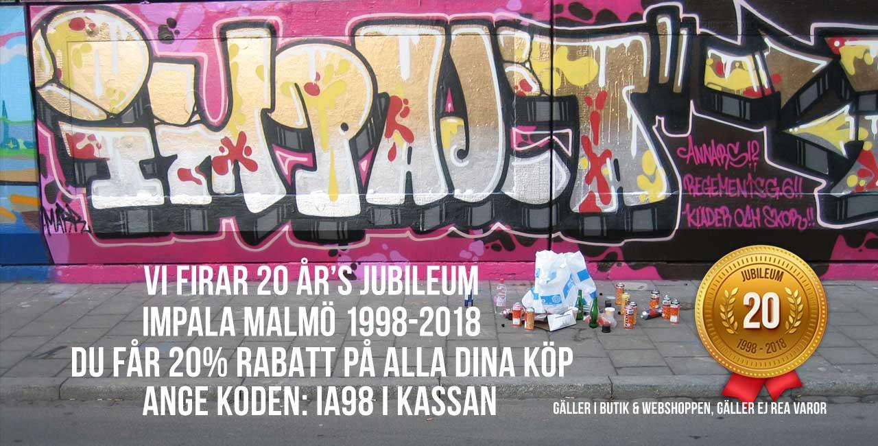 Impala Streetwear firar 20 års jubileum . Impala Malmö 1998-2018. Du får 20% rabatt på alla dina köp