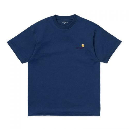 Carhartt S-S American Script T-shirt. Metro Blue