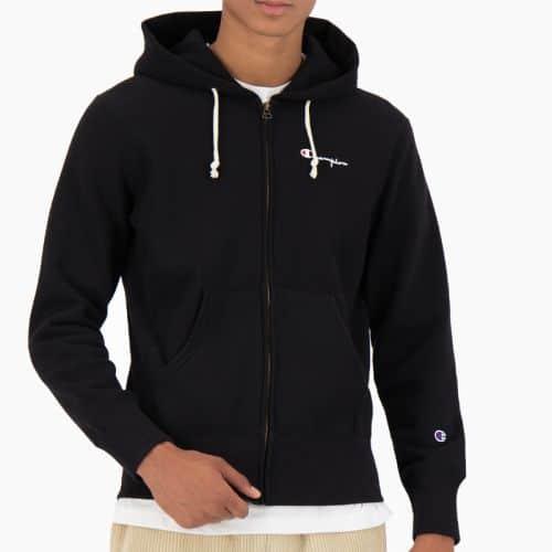 Champion Zip Hood, Reverse Weave. Black.